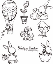 Happy Easter Rabbit Clear Silicone Stamp/Seal for DIY scrapbooking/photo album Decorative clear stamp sheets H019