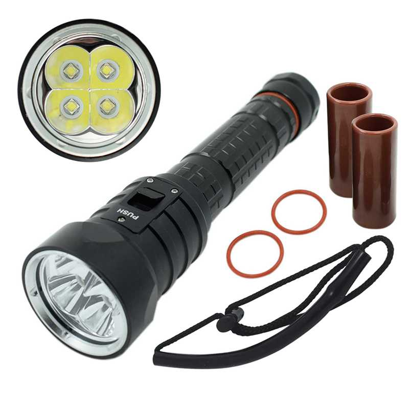 DX4S LED Diving Flashlight 4x XML L2 U2 4L2 Underwater 18650 26650 Torch Brightness Waterproof 100M Light LED Dive Torch Lamp 4 xml l2 led diving flashlight torch 18650 26650 lantern underwater professional dive torch waterproof diver lamp light
