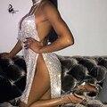 Кендалл Дженнер 'ы 21-летие Наряды 2016 Ручной Работы, Металлические Цепи Ремни Спинки Sexy Dress Женщины Новый Серебряный Christmas party