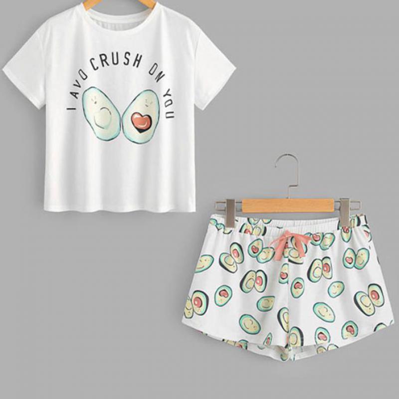 Zuolunouba O Neck Print Cartoon Top And Bow Front Shorts Pajama Set 2019 New Woman Short Sleeve Casual Pajama Set