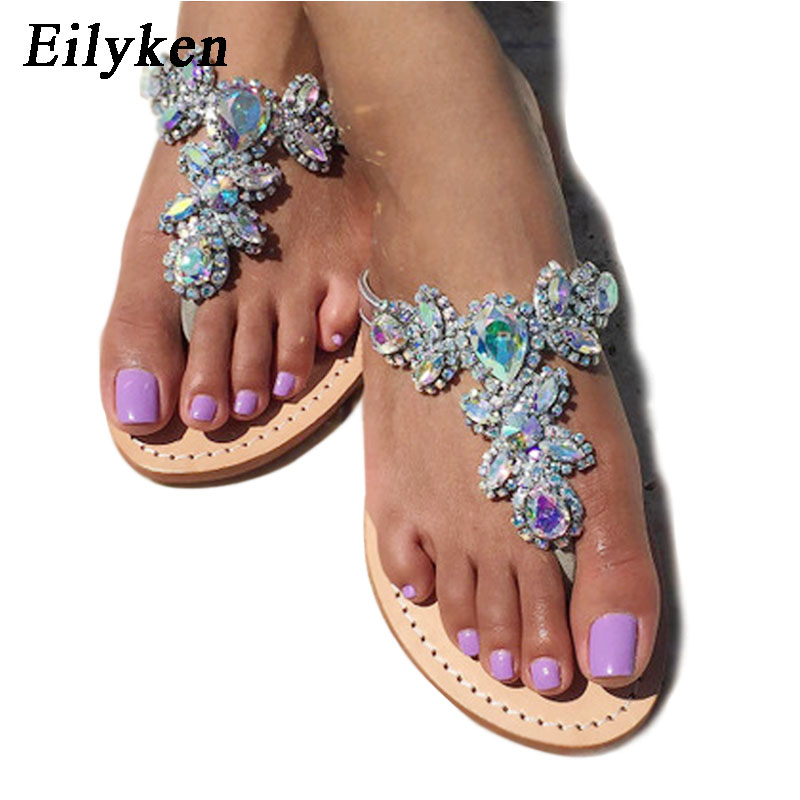 Eilyken 2020 New Leisure Woman Sandals Slippers Shoes Rhine Stones Crystal Chains Gladiator Flat Sandals Plus Size 35-43