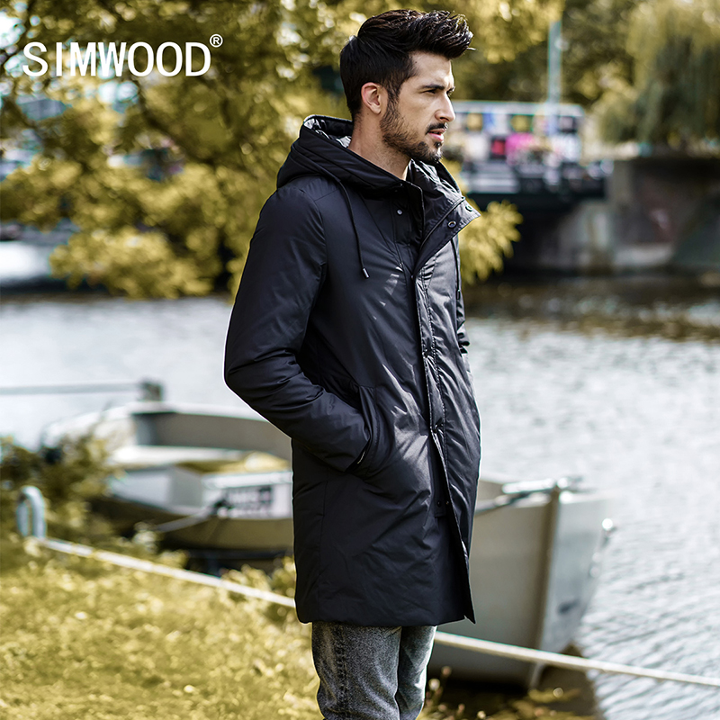 SIMWOOD 2018 Winter New Long   Down     Coats   Men 90% White Duck   Down   Winter jacket Male Slim Fit Warm Parka High Quality YR017002