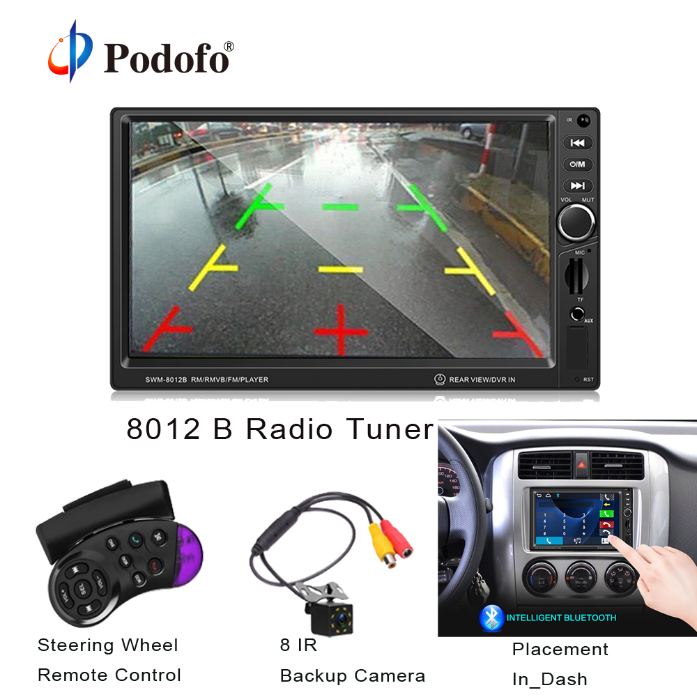 Podofo 8012 Rádio Do Carro 2 din 7 polegada Auioradio Tela Sensível Ao Toque Universal Do Carro Do Bluetooth MP3 Player Multimídia Suporte de Câmera Reversa