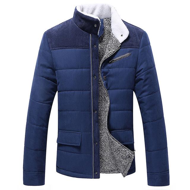 Homens Jaqueta de inverno Quente Espessamento Parkas Gola Casuais Casaco Outwear Jaqueta de Algodão Fino Sólida JYF99