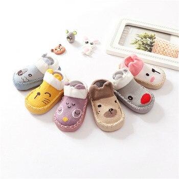 Calcetines para bebés y niños, calcetines de dibujos animados para bebés, suela de cuero antideslizante, medias de algodón para niños para primavera y otoño, Sokken para recién nacidos