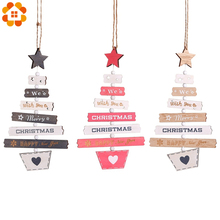 1PC Wooden Merry Christmas Letter Pendants Ornaments Party Wood Crafts For Home Wall  Xmas Tree Ornament Decoration