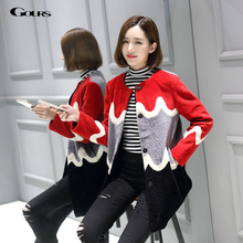 Gours Winter Real Natural Fur Shearling Coats for Women Brand Fashion Girls Wool Jackets and Coats 2016 New Arrival Plus Size