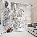 3D занавеска для фотографий  Индивидуальный размер  кирпичная стена  Белая лошадь  занавеска для спальни  занавеска для гостиной  декоративн...