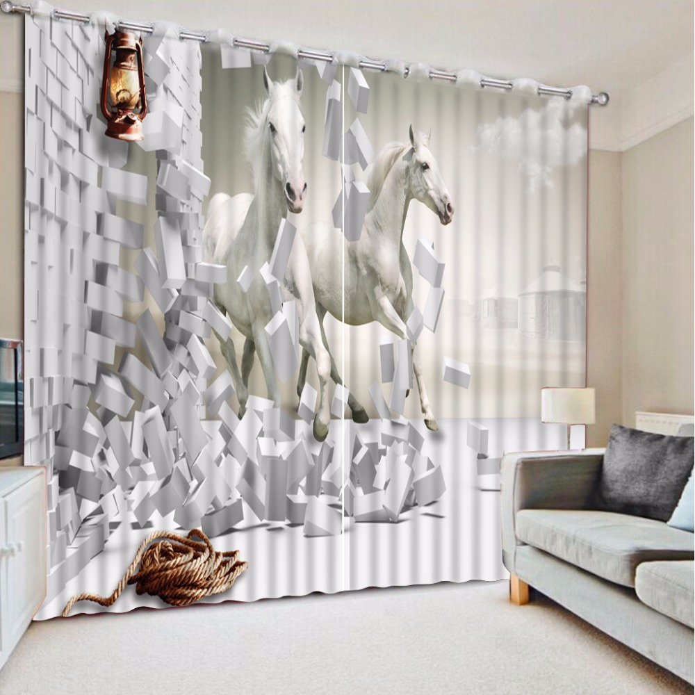 3D Curtain Photo Custom Size Wall Brick White Horse Curtains For Bedroom Curtains For Living Room Decorative Curtain