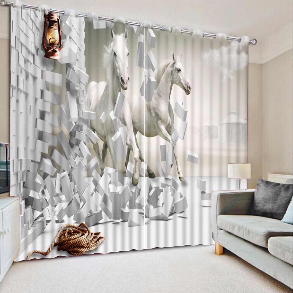 3dカーテン写真カスタムサイズ壁レンガ白い馬カーテン寝室用リビングルーム装飾カーテン