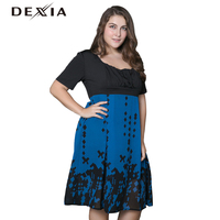 DEXIA 2017 Summer Women Dress Plus Size Solid Loose Vintage Print Knee Length Party Evening Female