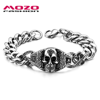 Fashion Brand Skeleton Jewelry Men Bracelet Stainless Steel Skull Bracelets Punk Pulsera Charm Silver Chain Link