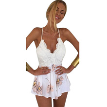 Sexy Women Backless Chiffon Jumpsuit Ladies Summer Sleevless Floral Print Playsuit Rompers Women Beach Lace Shorts