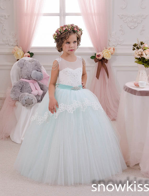 Vintage mint green ball gown tulle princess beaded lace appliques flower girl dress for birthday first communion gown green casual lace beaded suit