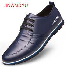 JINANDYU Brand size 38-47 Men Shoes Black Blue British Style Casual Leather Shoes For Men Lace-up 2019 New Autumn Shoes Zapatos men shoes genuine leather casual shoes men british fashion lace up men boots for male zapatos spring autumn size 39 43