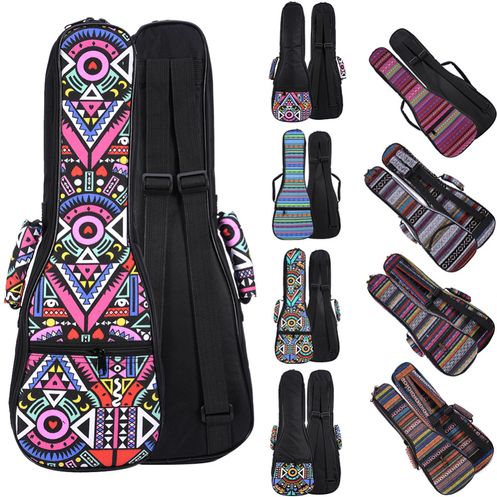 National Customs 21 23 26 Inch Double Strap Hand Folk Canvas Ukulele Carry Bag Cotton Padded Case For Ukulele Guitar Accessories