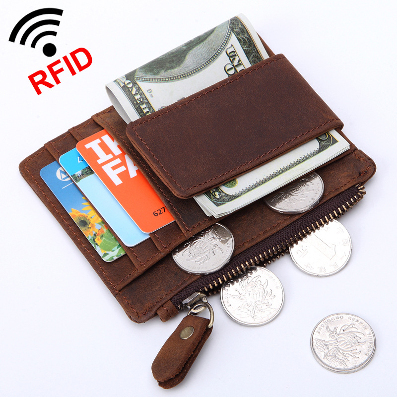 Retro Genuine Cow Leather Wallet Men Money Clips with zipper coin bag Quality Cowhide Cards purse Clutch Wallets Housekeeper gubintu genuine cowhide leather money clip wallet men slip metal short wallets men slim clutch men wallet small purse for man