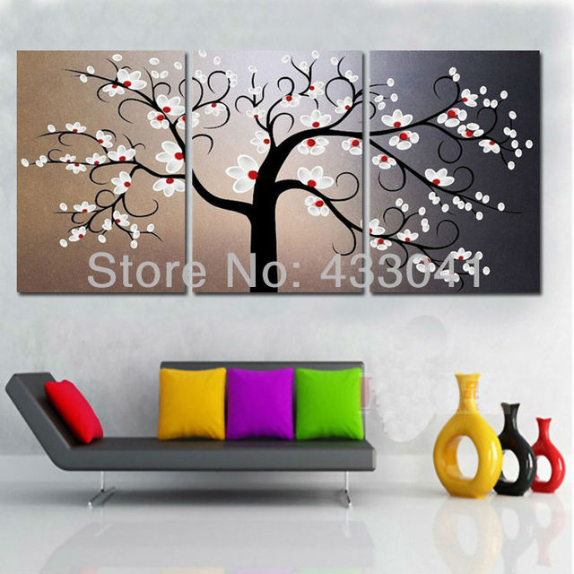 3 piece set handpainted modern abstract chinese plum tree white 3 piece set handpainted modern abstract chinese plum tree white flower oil painting on canvas wall mightylinksfo