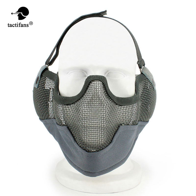 Tactifans Hunting Accessories Half Face Metal Mesh Protect Goggle V2 Strike Metal Mesh With Ear Protection Airsoft
