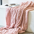 Nordic Sleeping Knitted Blankets Decorative Blanket Warm Sweater Beige Pink Light Gray Lady Throws Sofa Blankets 130*180cm