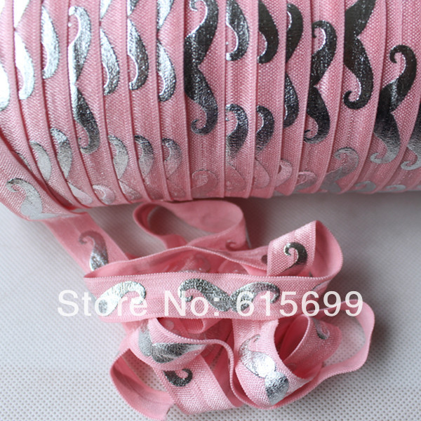 silver mustache foe ribbon 150 pink elastic band for hair printed