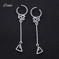 DOKOL Trendy Women Earrings Inlay Clear Tiny AAA Cubic Zirconia Earring Dangle Heart Silver Color Jewelry DKE0155
