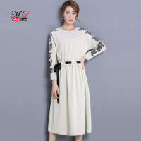 Maylina Srping White Embroidery Simple Slim Dress Elastic Waist Casual O Veck Medium Long Work Autumn