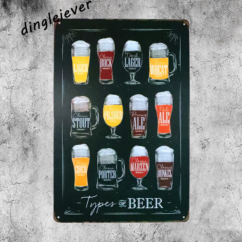 Types of beer vintage tin sign bar signs kitchen decor outdoor wall plaques antique tray beer poster
