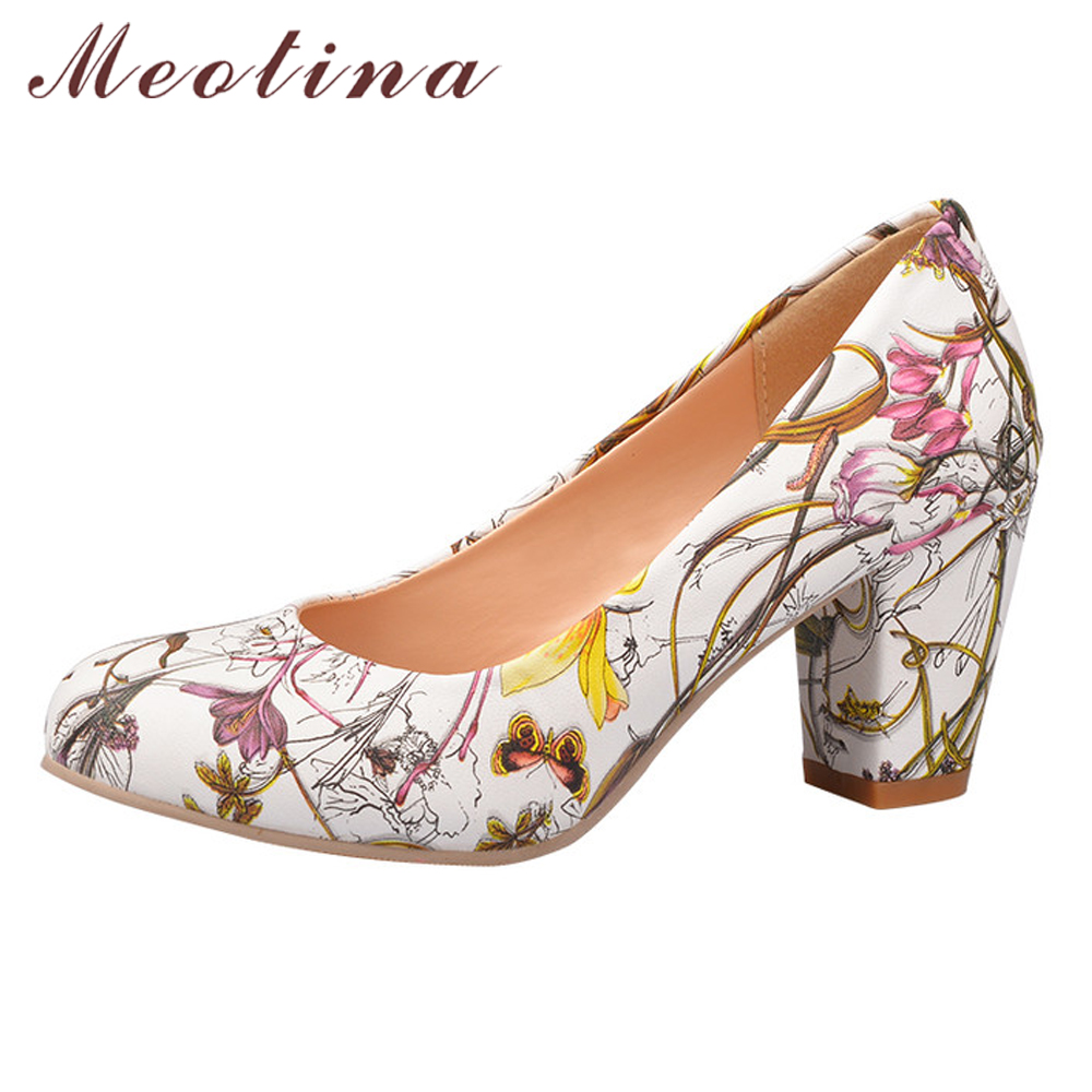 Meotina Square Heels Flower-Pumps Work-Shoes Round Toe Yellow Female Large-Size Cheap