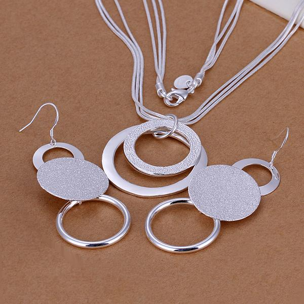 High quality 925 stamped silver plated Fashion Jewelery Sets Double O necklace+earrings Jewelry Bijoux Wholesale Free Shipping