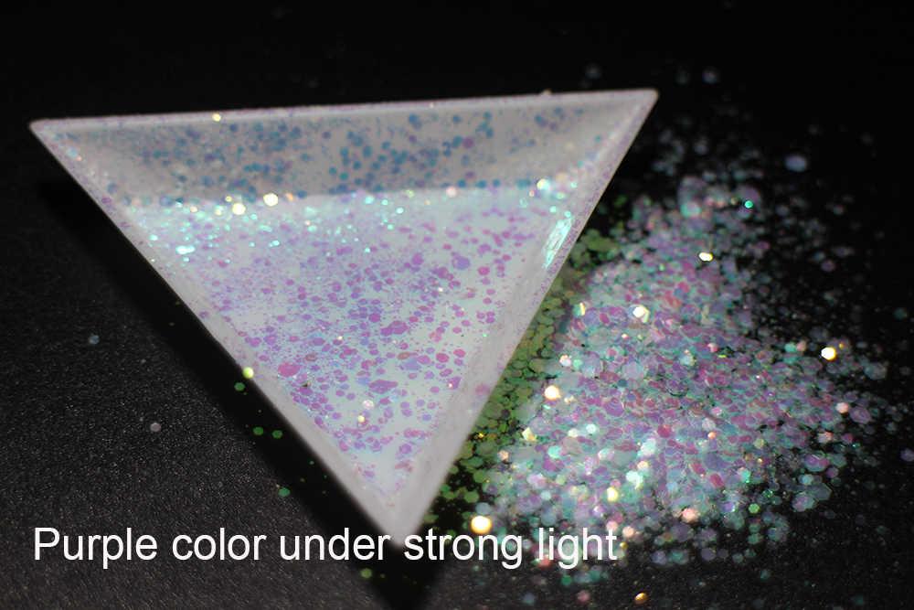 30 グラム〜 500 グラム、ミックスサイズ六角形虹色のスパンコール、ライト変更パープル色スライス 3D うちスパンコール