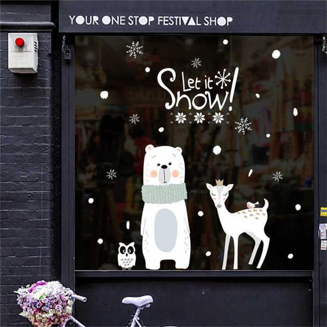 2019 الكرتون سانتا كلوز ملصقات جدار الفن للإزالة المنزل ملصق مائي ديكور حفلة عيد ميلاد سعيد شباك الفيلم ملصقات