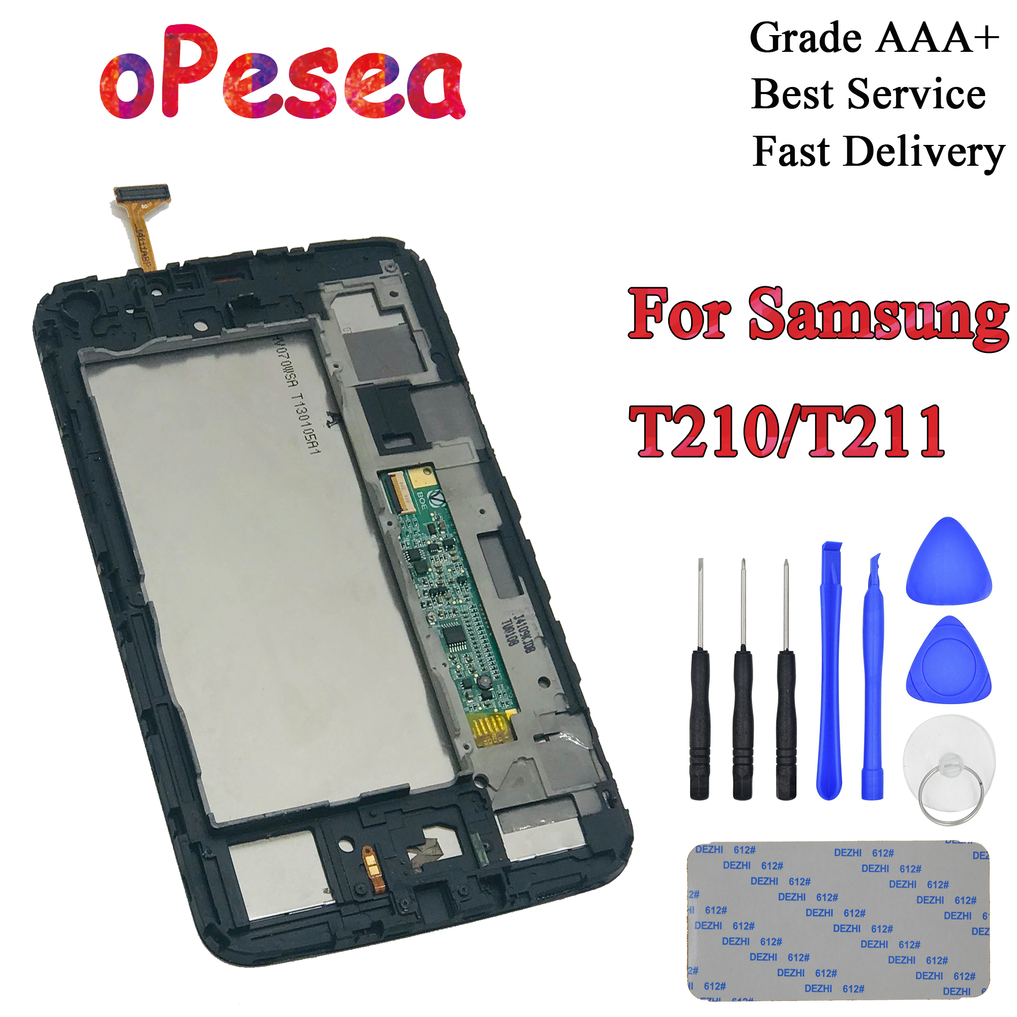 OPesea For Samsung Galaxy Tab 3 7.0 T211 T210 SM-T210 SM-T211 Touch Screen Digitizer LCD Display Panel Assembly With Frame