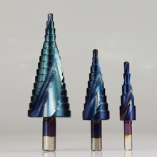 цена на 3pc Hss Step Cone Taper Drill Bit Set Hole Cutter 3/16-1/2,1/8-1/2,1/4-3/4 inch Plating Blue Coated Metal Hex Bits Metric 4-32mm