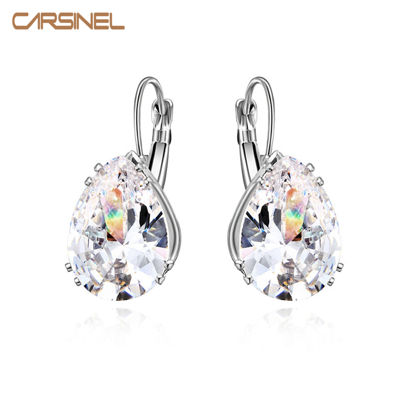Warna Silver 13 * 18mm Hoop Earring Big Water Drop Cubic Zircon Austria Kristal Perhiasan Anting untuk Wanita Fashion Bijoux gadis
