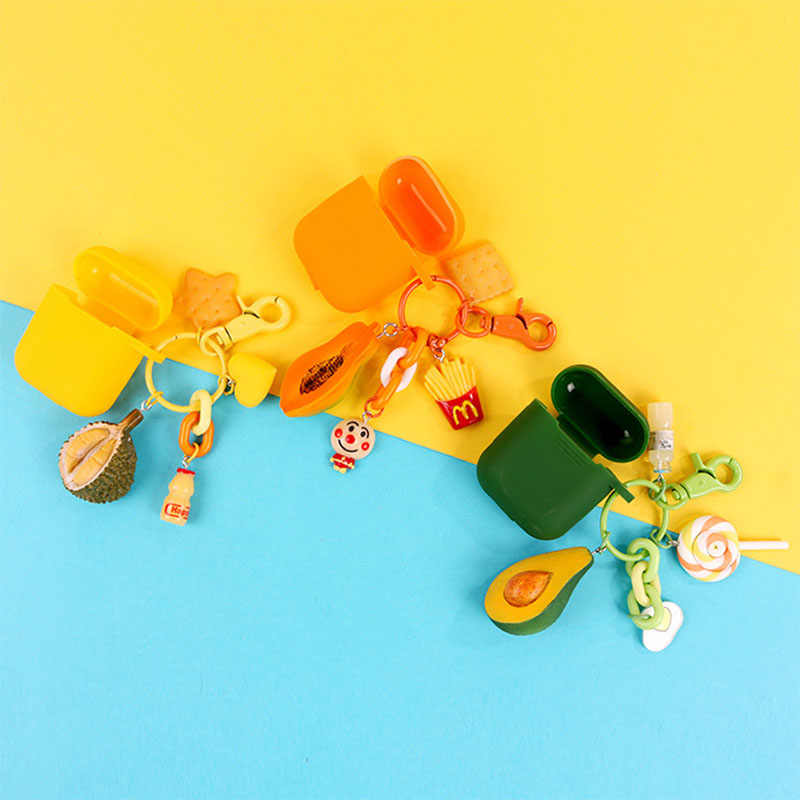 Cartoon Avocado Durian Fruits Keychain Women Girls Bag Ornaments Lollipop Biscuits Pendant Key Chain Kids Toys Keyring Jewelry