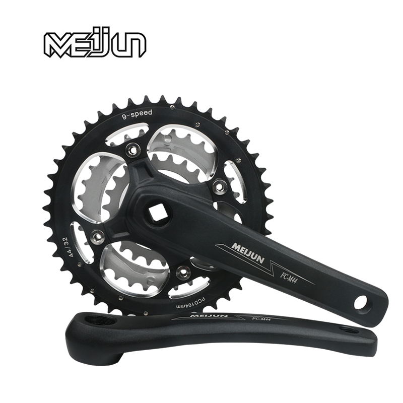 MEIJUN 44T mountain bike 32 teeth tooth plate 22 tooth disc 27 speed 24 bicycles 7 Highway 8 aluminum alloy 9 crank shaft fittin mountain bike crank set bicycle crank set sprocket 22 32 44t bicycle crank set hollow tooth plate 9 27 speed tooth plate