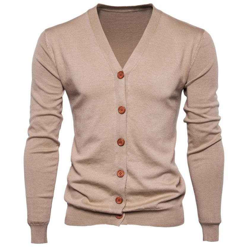 Feitong Autumn Men Sweater Cardigan Pull Slim-Fit Long-Sleeve Cotton Knit Multicolor