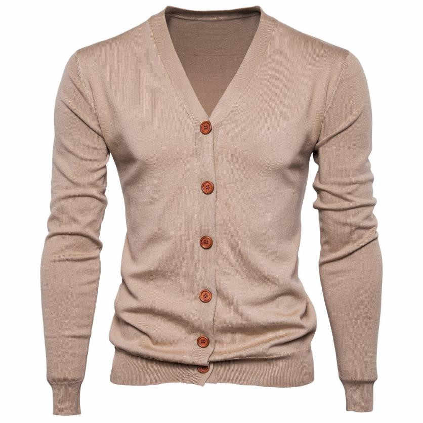 Feitong Autumn Men Sweater Casual Button V-neck Sweaters Long Sleeve Cotton Knit Cardigan Slim Fit Pull Homme Multicolor
