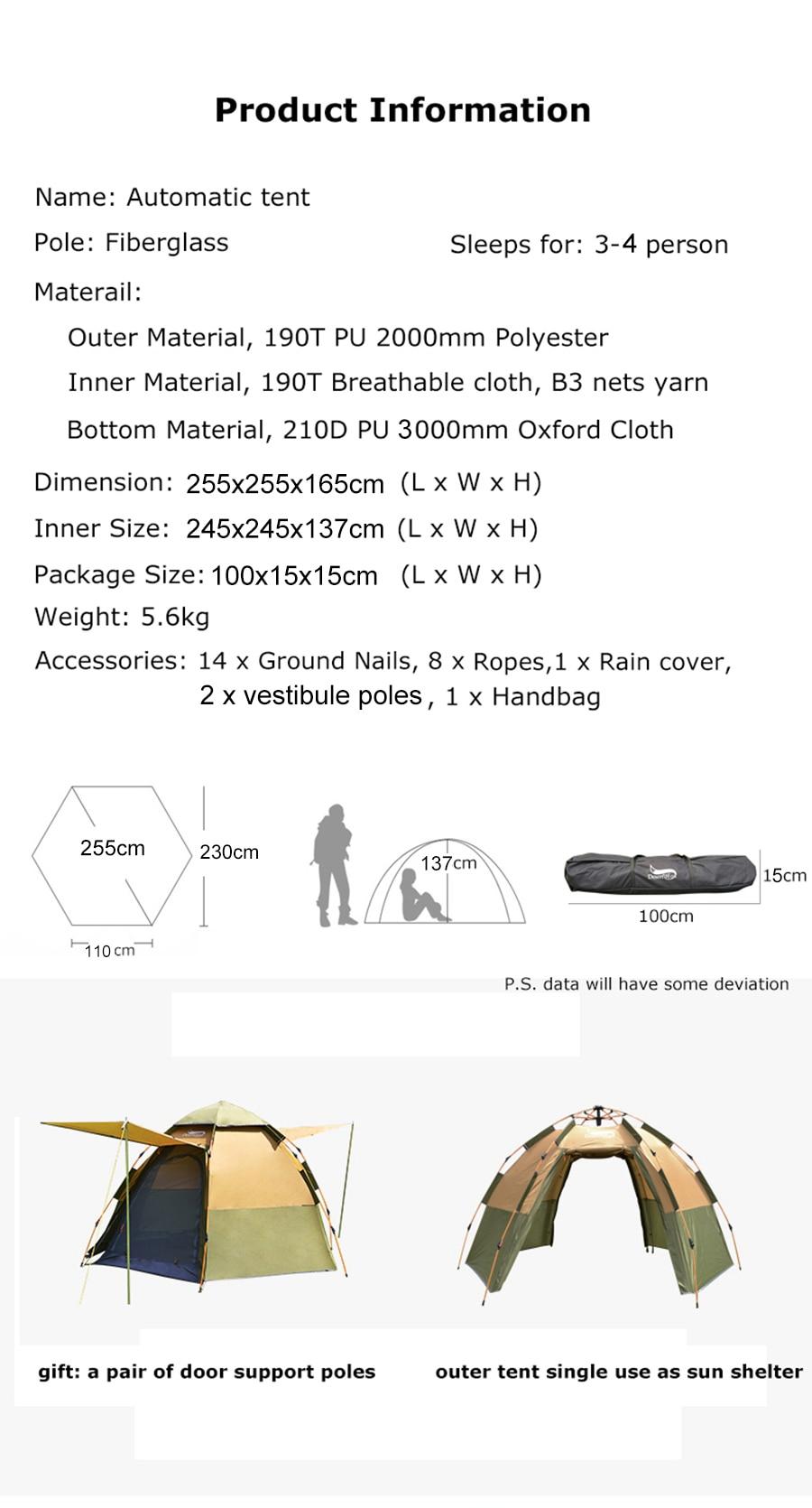 Desert&Fox 3-4 Person Dome Instant Tent