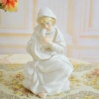 porcelain Virgin Mary Statue figurines ceramic white white golden ceramics statues for home office decoration women