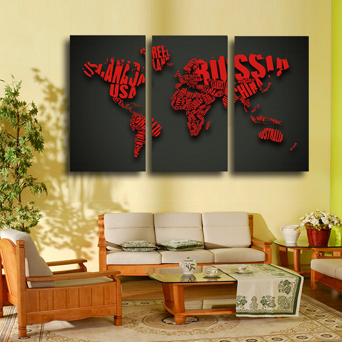 3 PCS World Map Red Wall Painting Large HD Picture Home Decor ...