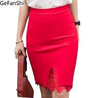 5XL Plus Size Spódnica Formalne Koronki Patchwork Stałe Spódnica Kobiety Spódnice Moda Elegancki Stretch Ołówek Spódnica Słodkie Panie Midi Spódnica