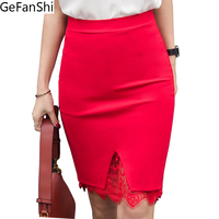 5XL Plus Size Skirt Formal Lace Patchwork Solid Skirt Women Skirts Fashion Elegant Stretch Pencil Skirt
