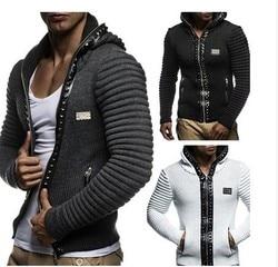 ZOGAA 2019 брендовый мужской свитер, пальто, повседневная трикотажная куртка с капюшоном, пальто с заклепками, мужской свитер на молнии, модная к...