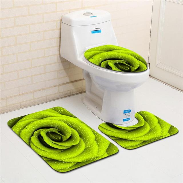 3pcs Set Green Flowers Printed Bath Mat Toilet Seat Cover Flannel