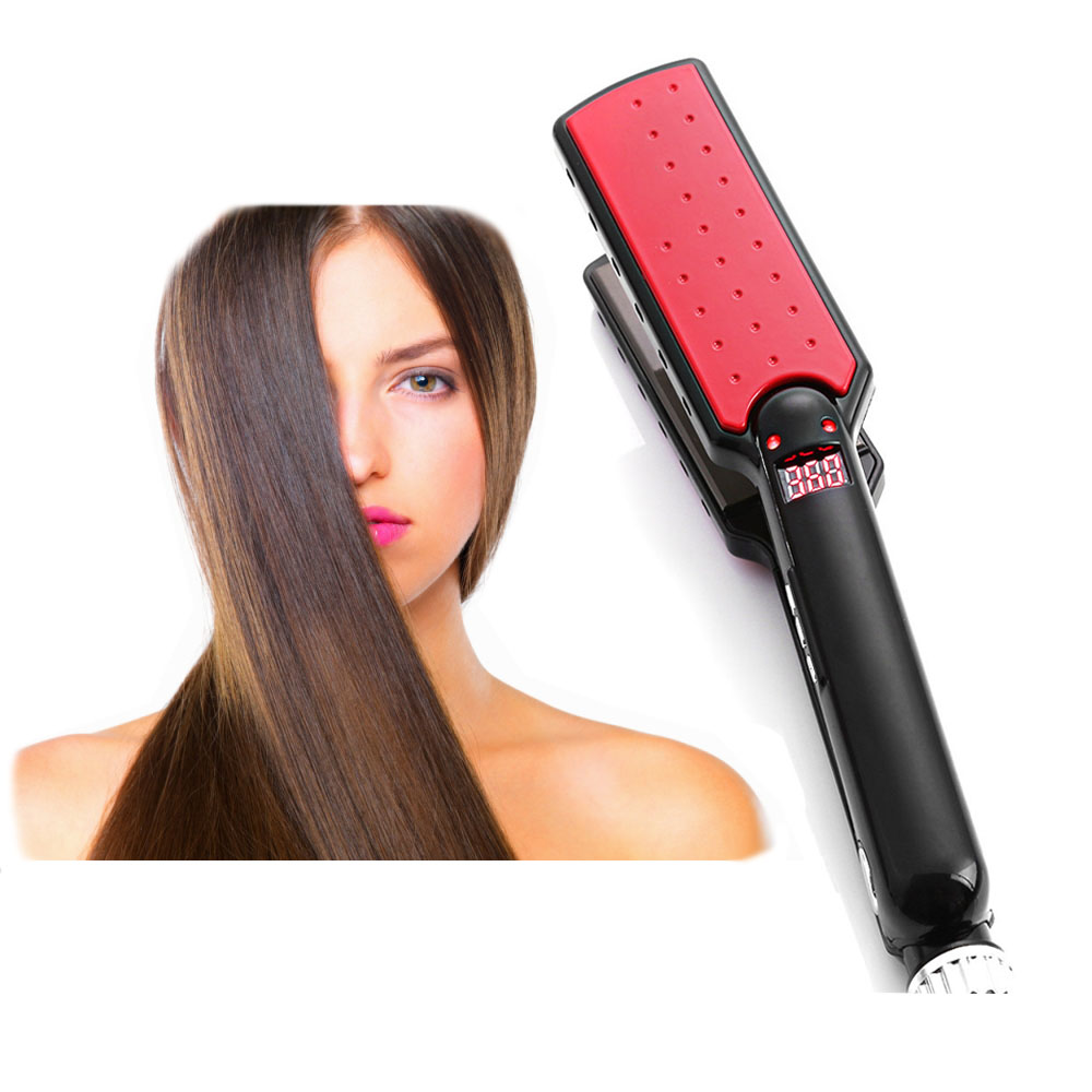 EU/US Plug 11mm Ultrathin LED 7 Shape Tourmaline Ceramic Hair Straightener MCH Heater Negative Ion Function Fast Heat Up