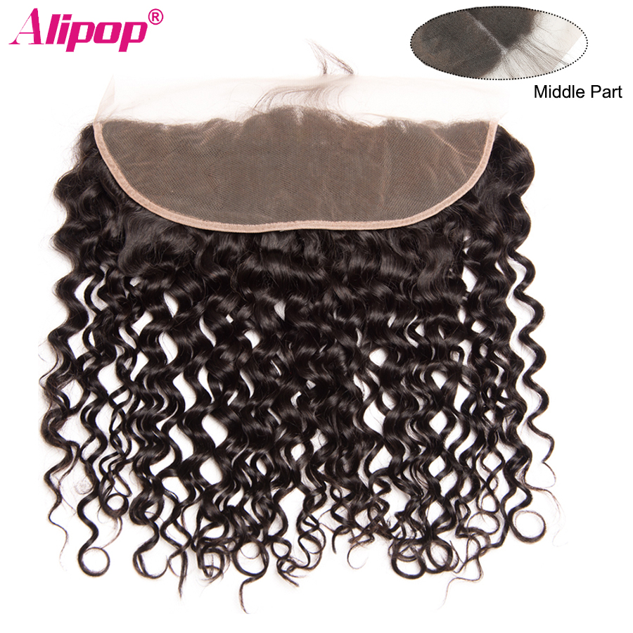 Water Wave 13x4 Lace Frontal Closure Brazilian Human Hair Closure Pre Plucked Frontal Remy curly Closure Natural Black ALIPOP (1)