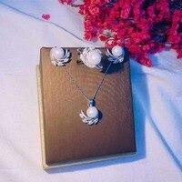 Пробы S925 925 Серебряный кулон Цепочки и ожерелья ухо шпильки кольцо серебро комплекты Феникс пресноводного жемчуга с украшением в виде крист