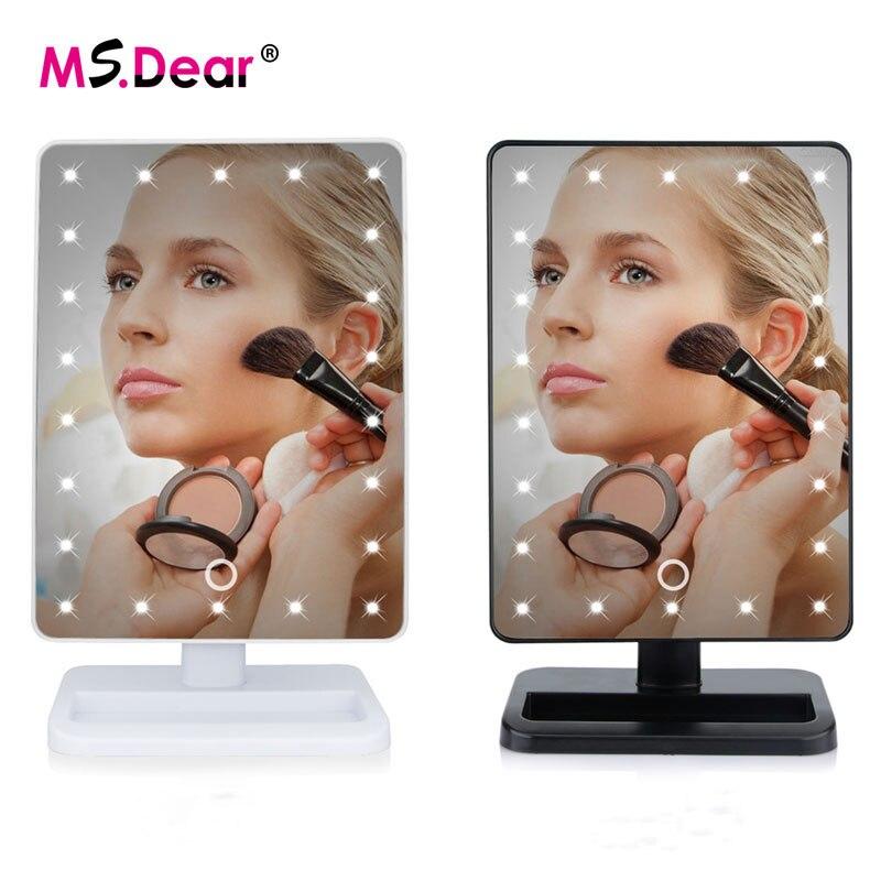 Haut Pflege Werkzeuge Spiegel Sanft 22 Leds Licht Eingestellt Touchscreen Make-up Spiegel 360 Grad Rotierenden Eitelkeit Platz Schreibtisch Stehen Kosmetik Spiegel Make-up-tools Hohe Sicherheit